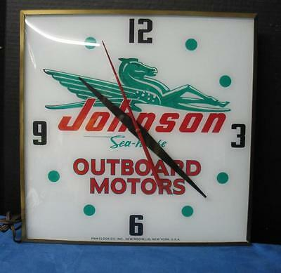 Vintage Pam Lighted Advertizing Clock JOHNSON SEAHORSE OUTBOARD MOTORS