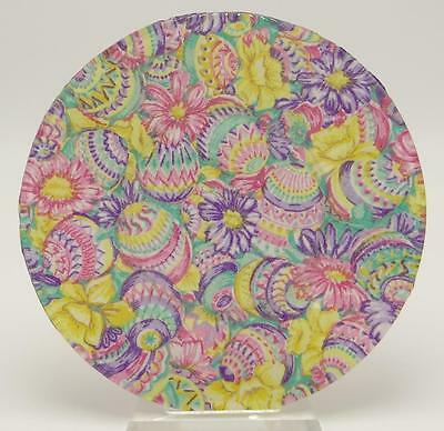 Hand Crafted Clear Glass Easter Egg Flowers Fabric Decorative Plate
