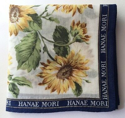 Handkerchief Vintage Hanae Mori Yellow Floral Women's Pocket Square Scarf~18""