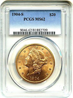 1904-S $20 PCGS MS62 - Liberty Double Eagle - Gold Coin - Slightly Better Date
