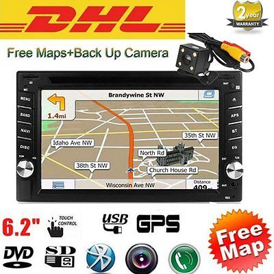GPS Double 2 Din 6.2'' In-Dash Car DVD Player Radio Stereo Bluetooth iPod+Cam BD