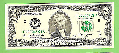 2009  Usa  $2 Two Dollar Banknote F07728468A