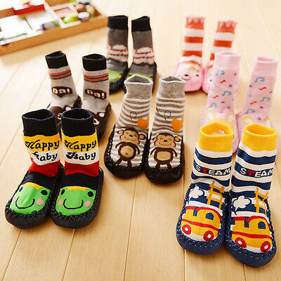 Boy Cute Baby Kids Toddler Girl Anti-slip Shoes Boots Slipper Socks 0-24 Months