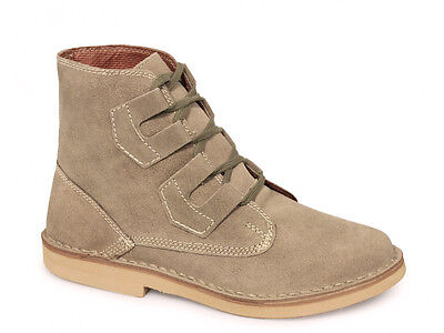 Mens New Dark Taupe Real Suede Ghillie Tie Desert Boots 6 7 8 9 10 11 12