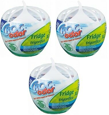 3x Croc Odor Fridge Deo XL Deodoriser Neutralise Smell Odour Freshener