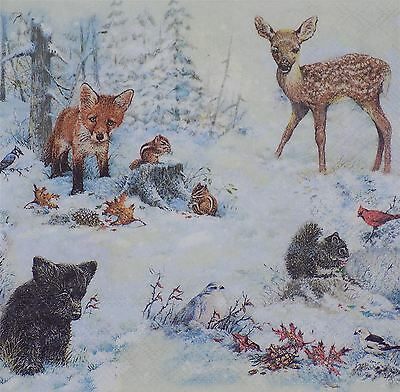 "Winter Fox Deer Squirrel Brown 3-Ply 20 Paper Napkins Serviettes 13""X13""-33X33Cm"