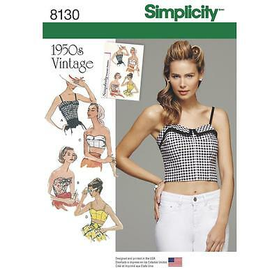 Simplicity SEWING PATTERN 8130 Misses Retro 1950s Tops & Cropped Tops