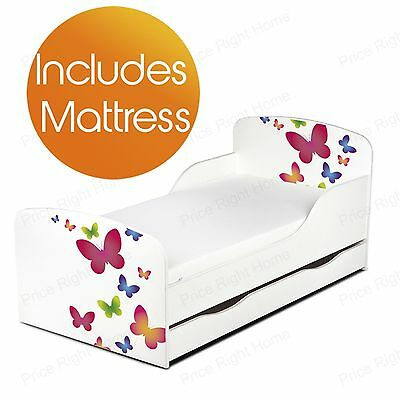 Butterflies Mdf Toddler Bed + Mattress With Underbed Storage Butterfly