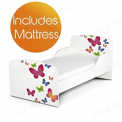 Butterflies Mdf Toddler Bed + Deluxe Mattress New Kids