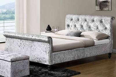Silver Crushed Velvet Fabric Upholstered Sleigh Bed Frame Double King Size