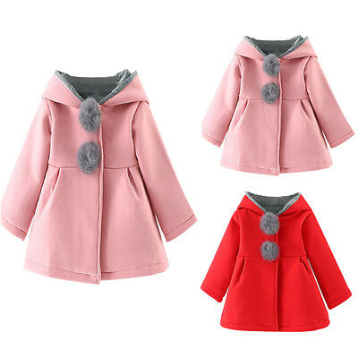 Winter Baby Infant Girls Thicken Coat Jacket Hooded Ball Snow Warm Clothes Lot