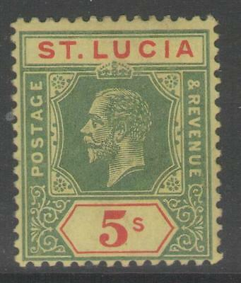 St.lucia Sg88 1912 5/= Green & Red/yellow Mtd Mint