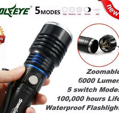 6000LM 5 Modes Focus Zoomable CREE XML T6 LED 18650 Battery Flashlight torch LOT