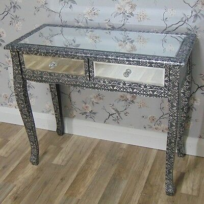 Mirrored Dressing Console Table Silver Embossed Bedroom Shabby Vintage Chic Home