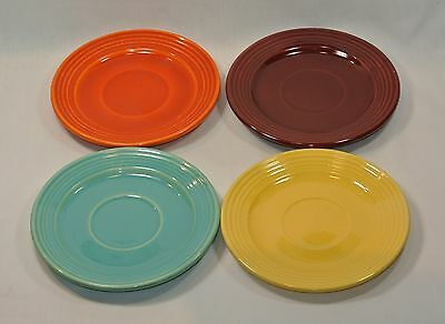 BAUER Pottery MONTEREY Ring SAUCERS Set of 4 Burgundy Yellow Green Orange
