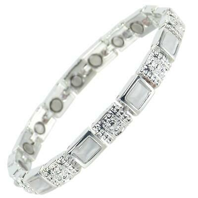 NEW Ladies Magnetic Bracelet with Faux Gemstones - Mother of Pearl FREE GIFT BOX