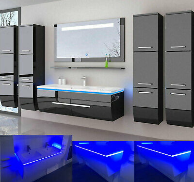 badm bel set weiss hochglanz badezimmerm bel 6teilige led komplett 70cm montiert eur 379 99. Black Bedroom Furniture Sets. Home Design Ideas