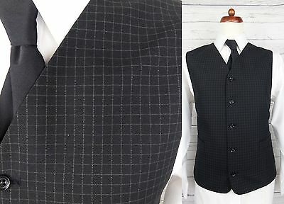 Vtg Mens Single Breast High Fit Black Check Waistcoat -44- DF93