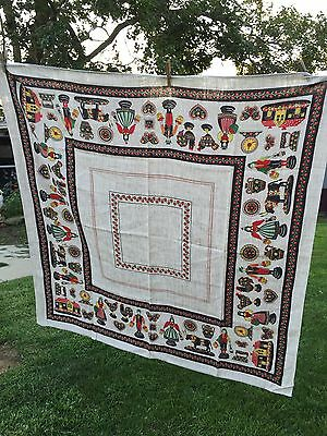 Vintage Tan, Black & Red Rooster Print Tablecloth