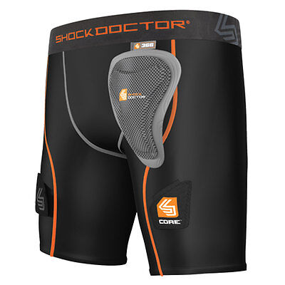 Shock Doctor Women's Core Compression Hockey Short w/ Pelvic Protector, Black XL