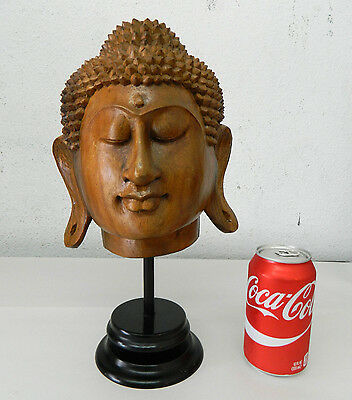 Hand Carved Wood Buddha Sukhothai Thai Style Head Statue Figure Decoration #3
