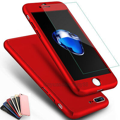 For iPhone X 5 6s 7 8 Plus 360° Case Ultra Thin Slim Hard Cover + Tempered Glass