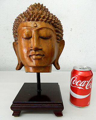 Hand Carved Wood Buddha Sukhothai Thai Style Head Statue Figure Decoration #7