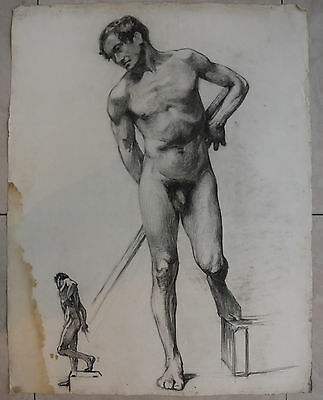 Rare French Male Nude Life Drawing. R. Lagneau.1913. Big Size.