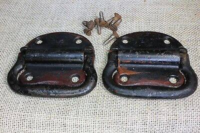 "2 Tool Box drop Handles trunk Pulls 3 1/2"" old rustic paint remants vintage"