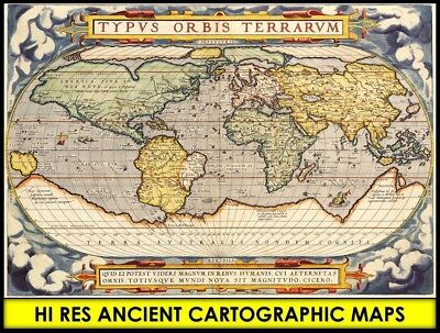Hi Res 1570ca ANTIQUE OLD WORLD MAP ATLAS in CD Globe Nautical Art Vintage Image