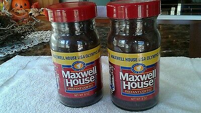 2 Vintage Maxwell House Instant Coffee USA Olympic Jar