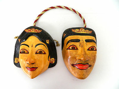Vintage Chinese New Year / India Wood Carved Painted Asian Wall Hanging Art Mask