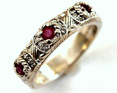 Judith Repka Sterling Silver, Synthetic Ryby and CZ Ring Size 9