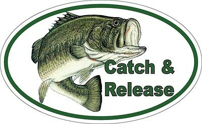 FISHING OVAL Sticker - decal fishing stickers bass trout bait catch release