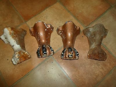 Antique Cast Iron Bath Feet Lion Paw Very Heavy Great Upcycle Project