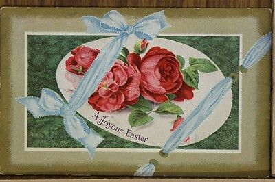 """ANTIQUE 1910's EASTER POSTCARD """"Plate Of Roses"""" Posted"""