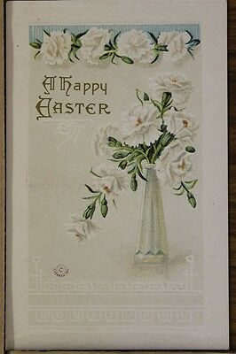 """ANTIQUE 1910's EASTER POSTCARD """"Embossed White Floral"""" Unposted"""