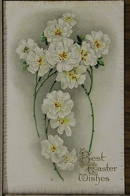"""ANTIQUE 1910's EASTER POSTCARD """"Embossed White Flowers"""" Unposted"""