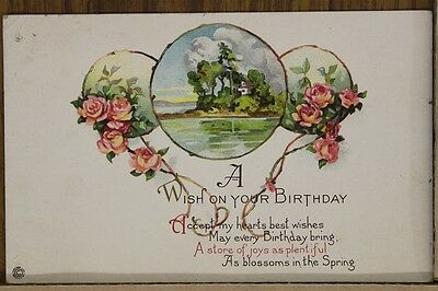 """ANTIQUE 1910's BIRTHDAY POSTCARD """"Roses & Island Cottage"""" Posted"""