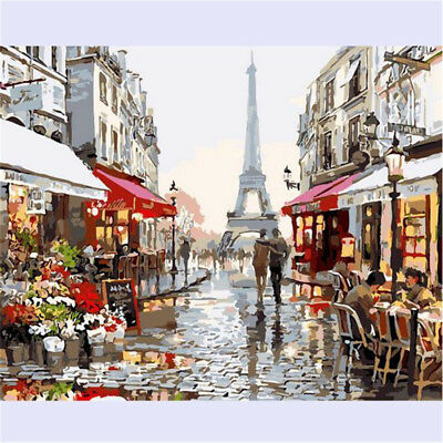 "16x20"" Paris Street Paint By Number Digital Oil Painting Picture Print On Canvas"
