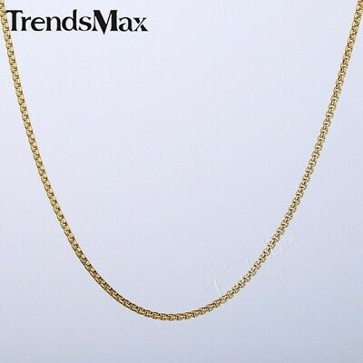 2mm Thin Men Women Unisex Box Link Gold Plated Stainless Steel Chain Necklace