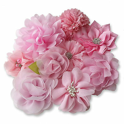 LIGHT PINK Fabric Flowers CRAFT Glue/Sew On Embellishment Applique Garment Hair