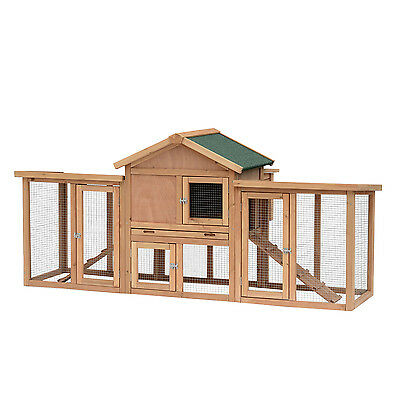 "80"" Wooden Backyard Chicken Coop Hen House Poultry Cage W/ Large Run Nesting Box"