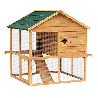 "53"" Wood Two-tier Chicken Coop Rabbit Hutch Poultry Cage Pet Supplies W/ Run"