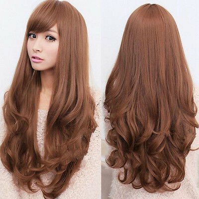 Fashion Women Long Brown Curly Wavy Wigs Side Fringe Hair Style Cosplay Full Wig