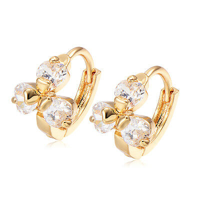 Kid Baby Girls Jewellery Safety Crystal Flower Hoop Earrings Jewelry Gold Filled
