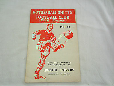 1960-61 LEAGUE CUP 3RD ROUND ROTHERHAM UNITED v BRISTOL ROVERS (1ST SEASON )