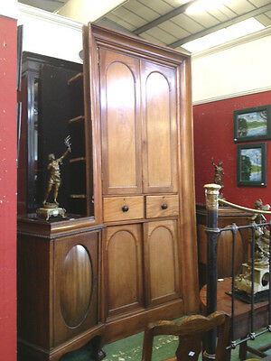 Huge Victorian Mahogany Alcove Cabinet / Bookcase / Cupboard with Drawers RARE!!