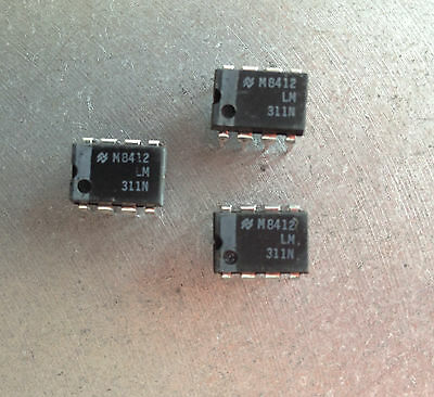 3 x LM311N National Semiconductor Voltage Comparator 8Pin DIL ICs.  U.K Supplier