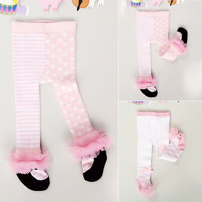 Baby Toddler Girls White Pink Cotton Lace Bow Warm Stockings Tights Pantyhose